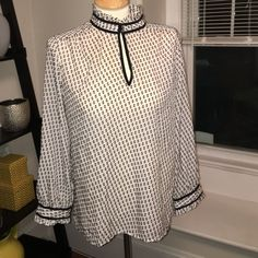 JCrew Blouse Sz 10 Super cute, gently worn JCrew blouse size 10. White with black, button collar. J. Crew Tops Blouses