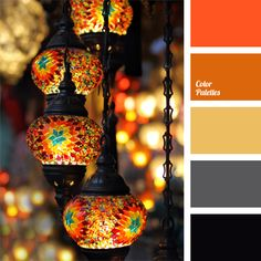 Transfer from gray to black and the contrast with bright orange shade in combination with ocher makes a festive mood. Such a palette is applicable for decoration of lamps in the lobby, in front of entrance and inside a nightclub, restaurant and bar, as well as in the interior of these institutions, in the house – guest receiving hall.