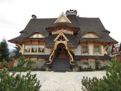 Whimsical house in Poland. Style At Home, Houses In Poland, Crooked House, Fairytale House, Wooden Cottage, Unusual Buildings, Storybook Cottage, Unusual Homes, Building Exterior