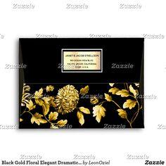 Shop Black Gold Floral Elegant Dramatic Custom Address Envelope created by LeonOziel. Thank You Notes, Thank You Cards, Custom Printed Envelopes, Envelope Sizes, Addressing Envelopes, Black Gold, Colorful Backgrounds, Stationery, Greeting Cards