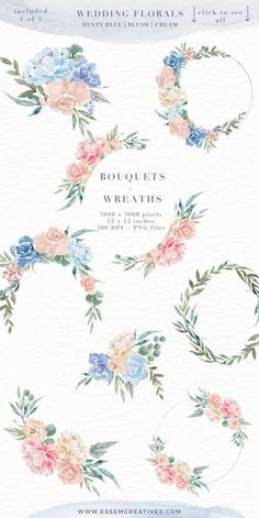 Wedding Watercolor Flowers Graphics Clipart, Dusty Blue Blush Pink Floral Frames Bouquets Wreaths, Digital Borders for Cards, Boy Baby Shower Invitation & Nursery Designs Watercolor Clipart, Watercolor Design, Watercolor Wedding, Floral Watercolor, Wedding Painting, Wreath Watercolor, Floral Rosa, Motif Floral, Floral Design