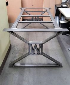 """Modern, Industrial Dining Table Legs - with builded """"W"""" , M.- Modern, Industrial Dining Table Legs – with builded """"W"""" , Model with Frame Brace - Welded Furniture, Steel Furniture, Diy Furniture, Furniture Removal, Furniture Assembly, Furniture Online, Furniture Companies, Discount Furniture, Luxury Furniture"""