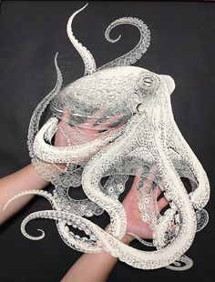 Kirie Paper Cutting Art Octopus by Masayo FukudaYou can find Paper art and more on our website.Kirie Paper Cutting Art Octopus by Masayo Fukuda Kirigami, Octopus Design, Octopus Art, Octopus Images, Stylo Art, Anim Gif, Animated Gif, Colossal Art, Art Japonais