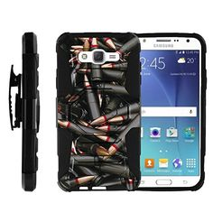 TurtleArmor | Samsung Galaxy J7 Case | J700 [Octo Guard] Armor Solid Hybrid Sturdy Kickstand Silicone Belt Clip Holster War Military Robot Android Design - Black Bullets