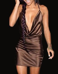 Sexy Spaghetti Strap Plunging Neck Dress For Women