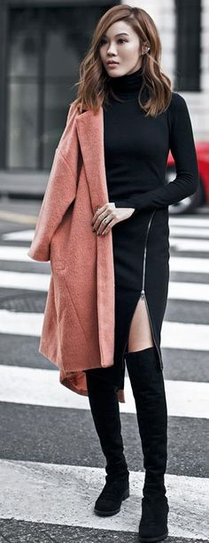 Coral On Black Fall Street Style Inspo by Tsangtastic