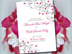 Fold Over Wedding Program Template by PaintTheDayDesigns on Etsy