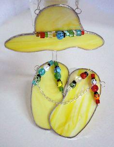 Flip Flop Hat Stained Glass Suncatcher Ensemble handmade