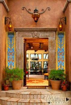 Mexican Hacienda in Spanish Renaissance Style pieces) - Hacienda Style - Mexican Style Homes, Hacienda Style Homes, Mexican Home Decor, Spanish Style Homes, Spanish House, Mexican Hacienda Decor, Mexican Style Kitchens, Spanish Revival, Spanish Colonial