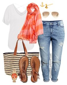 """Plus Size - Double Stripes"" by alexawebb ❤ liked on Polyvore featuring H&M, maurices, Aish, Mar y Sol, American Eagle Outfitters, Gorjana, Ray-Ban, outfit, plussize and plussizefashion"