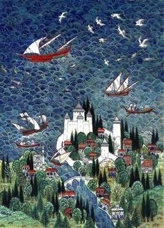 """""""Nusret Çolpan was a and miniaturist. Art And Illustration, Illustrations, Medieval, Mughal Paintings, Turkish Art, Islamic Art, Oeuvre D'art, Traditional Art, Les Oeuvres"""