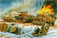 German Panzer column passing the destroyed wrecks of allied vehicles during the advance to northern England, 26 October 1943 Military Art, Military History, Panzer Iv, Tank Wallpaper, Mg 34, Military Drawings, German Soldiers Ww2, Germany Ww2, War Thunder