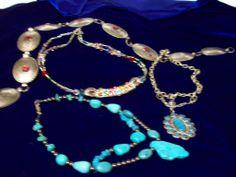 troquoise necklace double stranded silver belt