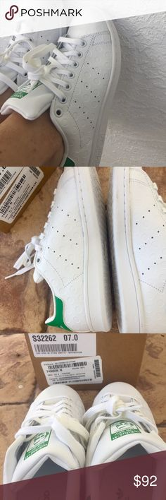 Adidas Stan Smith (Woman's) New in box Woman's Originals Stan Smith  Selected Style: White/White /Green Width B Medium Size 7 Brand New In Box Adidas Shoes Sneakers