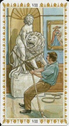VIII. Strength - Romantic Tarot by Emanuela Signorini, Guilia F. Massaglia