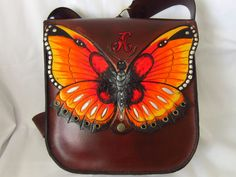 Genuine leather shoulder bag handmade carved and painted butterfly gorgeous.