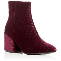 Ash Erika Velvet Block Heel Booties ($260) ❤ liked on Polyvore featuring shoes, boots, ankle booties, plum, velvet boots, leather sole boots, ash boots, block heel boots and plum boots