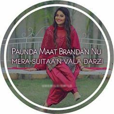 @manidrehar❤ Punjabi Attitude Quotes, Punjabi Love Quotes, Attitude Quotes For Girls, Swag Quotes, Girly Quotes, Punjab Culture, Sweet Couple Quotes, Punjabi Captions, Caption For Girls