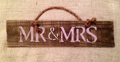 Mr & Mrs Reclaimed Pallet Wood Sign w/Rope Handle | Sea City