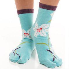 1-Pair-V-Toe-Flip-Flop-Tabi-Socks-Blue-Hawaiian-Flower