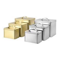 IKEA - HEMSMAK, Dose mit Deckel 3er-Set, Für Kaffee, Tee und andere Trockenlebensmittel geeignet.Die kleinen Behälter passen in die großen, das spart Platz.