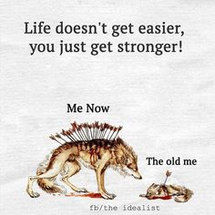 Life doesn't get easier, you just get stronger! Me Now The old me fb/the idealist