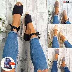 a2bf801e5 Womens Flat Low Wedge Heels Espadrilles Summer Ladies Beach Sandals Shoes   ebay  Fashion Lacer