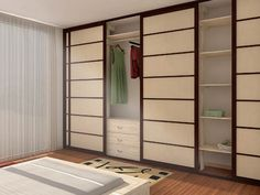 Modern Minimalist Japanese Sliding Door Wooden Style Cabinets Design  Equipped With Wooden Flooring Unit With White