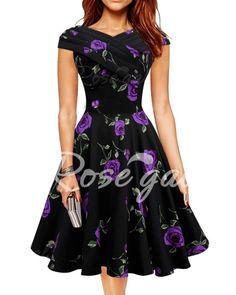 Retro Style V-Neck Rose Print Short Sleeve Ball Dress For Women Vintage Dresses | RoseGal.com