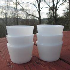 Six Vintage White Milk Glass Custard Cups - Deep White Glass Custard Cups