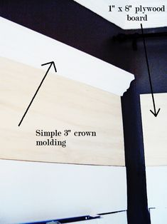 Window Molding: Cut down a sheet of plywood to window width size. Nail above existing molding and add crown molding. Fill gaps with picture molding. Then caulk, prime, and paint! Window Crown Moldings, Cheap Crown Molding, Moldings And Trim, Diy Molding, Molding Ideas, Wall Molding, Eames Design, Pintura Exterior, Diy Crown