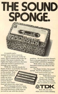 """The Sound Sponge"": US TDK SA 90 blank tape ad from 1976 #cassette"