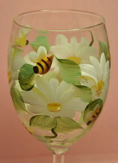 Hand Painted Wine Glass - Daisy Bees - Personalized and Custom Wine Glasses for Baby Shower, Birthday, Wedding, Party, Special Occasions on Etsy, $14.95