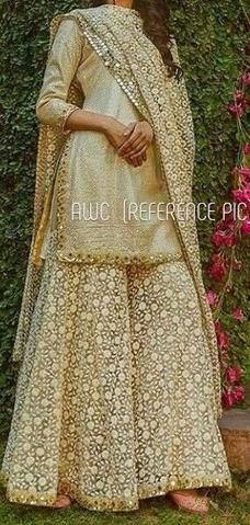 *Fabric* - Pure gm Finest* *Soft* Silk Shirt with *Pure Karachi Sharara* and Pure *Karachi* dupata. *Work*- New Design with *Pure Karachi* work *Sharara* **Pure Karachi Full Work* Dupata *size* -upto waist of Sharara upto Colors pink and light bluish gray Pakistani Wedding Outfits, Pakistani Bridal, Pakistani Dresses, Indian Dresses, Indian Outfits, Pakistani Sharara, Sabyasachi, Saree, Indian Attire