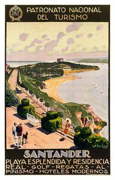 24x36 Visit Spain Santander Beach 1930s Vintage Style Travel Poster