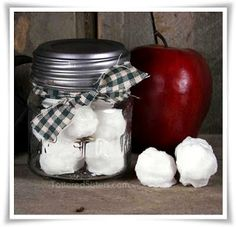 Snowballs  a Jar  All you need to do is get some Primitive Wax Melts that look like snowballs and put them in a jar. Add a bit of homespun, and you have one super easy primitive gift ready for the giving! What could be more fun that snowballs that will not melt...well, at least not until you want them to.