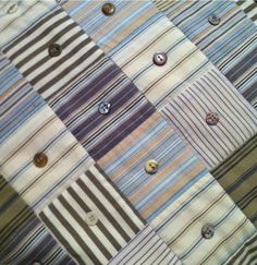 Striped Men's Shirts with buttons quilt.