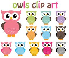 Owl Clip Art Clipart - 12 Digital Elements - Personal and Commercial Use Owl Clip Art, Owl Art, Art Clipart, Owl Crafts, Paper Crafts, Owl Classroom, Pink Owl, Baby Owls, Baby Animals