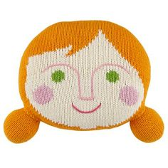 Kids' Throw Pillows: Kids Orange Hand Knit Throw Pillow People in Kids Throw Pillows