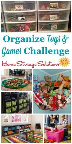 Here are step by step instructions for how to organize toys and games so your kids can actually find and play with their toys, and you don't trip over anything. Includes tips for toys with small parts, large ones, stuffed animals, board games, video games and more {part of the 52 Week Organized Home Challenge on Home Storage Solutions 101} #OrganizeToys #ToyOrganization #OrganizeGames Declutter Your Home, Organizing Your Home, Organizing Tips, Organising, Puzzle Storage, Game Storage, Kids Storage, Storage Ideas, Toy Storage Solutions