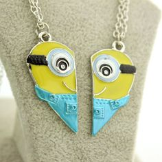 3D Cartoon Anime Despicable Me Statement Necklaces Enamel Minions Heart Pendants Movie Jewelry Women And Men Chain Necklace Gift
