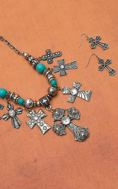 Silver Antique Cross Charm with Turquoise Jewelry Set