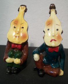 Vintage Anthropomorphic Salt & Pepper Shakers Musical Instrument Men Violin RARE
