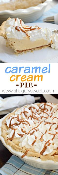 Cream Pie Caramel Cream Pie with an easy, homemade pie crust recipe!Caramel Cream Pie with an easy, homemade pie crust recipe! 13 Desserts, Delicious Desserts, Dessert Recipes, Yummy Food, Carmel Desserts, Lemon Desserts, Holiday Desserts, Sweet Desserts, Plated Desserts