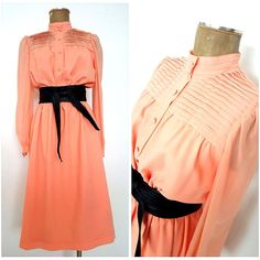 Vintage 80s Pleated Chiffon Dress Size Medium Secretary Peach Career Sheer #Unknown #Sheath #WeartoWork
