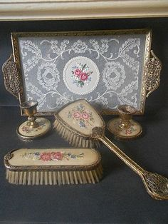 Beautiful Five Piece Vanity Brush Set With Candle Stick Holders & Lace Glass Tray