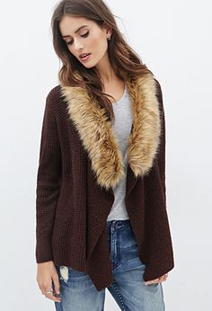 Faux Fur Collar Waffle Knit Cardigan | FOREVER21 - 2055880126 $32.80
