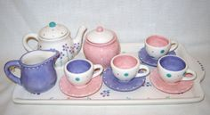 Ceramic  Little Girls/Child Tea Set  Flowers by VickyLynnDesigns,  Great mother daughter item to paint together.
