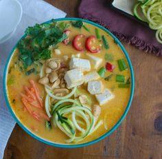 Thai Coconut Zoodle Soup is a healthier version of your favorite Thai noodle soup. The zucchini noodles lighten up this easy vegetarian soup recipe. Noodle Recipes, Soup Recipes, Healthy Recipes, Curry Recipes, Vegetable Noodles, Zucchini Noodles, Squash Noodles, Thai Noodle Soups, Thai Noodles