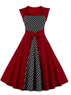 GET $50 NOW | Join RoseGal: Get YOUR $50 NOW!http://www.rosegal.com/vintage-dresses/retro-polka-dot-square-neck-869528.html?seid=1424208rg869528